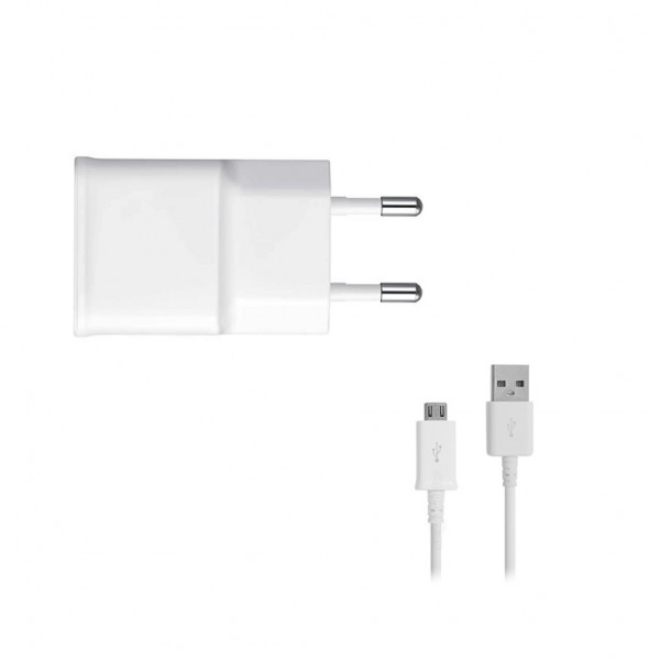 Samsung - EP-TA50EWE - USB Adapter + ECB-DU4AWE - Micro USB Cable - White BULK