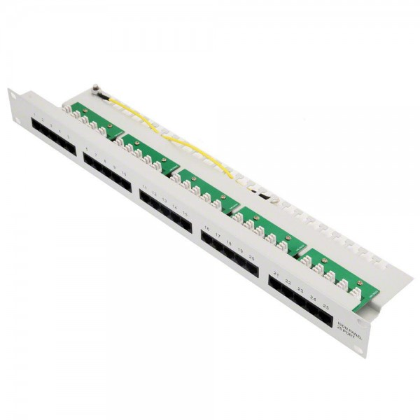 Helos Patchfeld Cat 3 ISDN 19'' 1HE 25 Port hellgrau